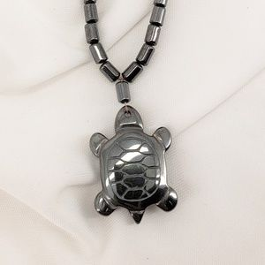 Jewelry - Black Hematite Necklace. Sea Turtle or Dolphin